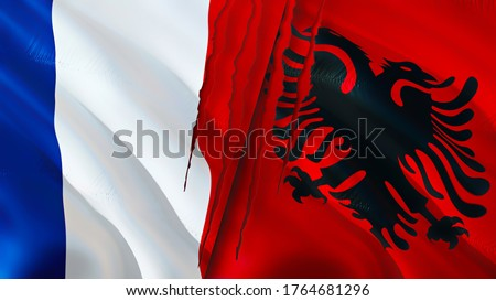 France and Albania flags with scar concept. Waving flag,3D rendering. France and Albania conflict concept. France Albania relations concept. flag of France and Albania crisis,war, attack concept