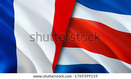 France and Costa Rica flags. 3D Waving flag design. France Costa Rica flag, picture, wallpaper. France vs Costa Rica image,3D rendering. France Costa Rica relations alliance and Trade,travel,tourism