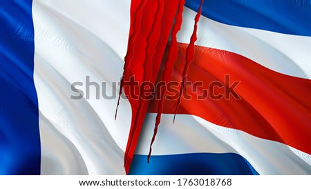 France and Costa Rica flags with scar concept. Waving flag,3D rendering. France and Costa Rica conflict concept. France Costa Rica relations concept. flag of France and Costa Rica crisis,war, attack