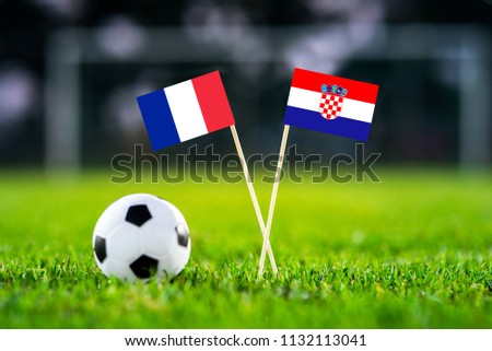 FRANCE and CROATIA national Flag on football green grass. FINAL OF World Cup, Russia 2018  #1132113041