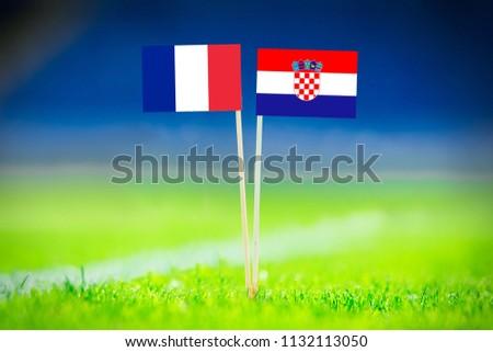 FRANCE and CROATIA national Flag on football green grass. France - Croatia, FINAL OF World Cup, Russia 2018  #1132113050