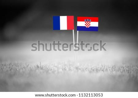 FRANCE and CROATIA national Flag on football green grass. France - Croatia, FINAL OF World Cup, Russia 2018  #1132113053