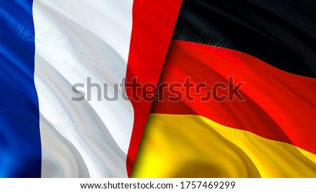 France and Germany flags. 3D Waving flag design. France Germany flag, picture, wallpaper. France vs Germany image,3D rendering. France Germany relations alliance and Trade,travel,tourism concept