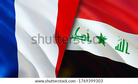 France and Iraq flags. 3D Waving flag design. France Iraq flag, picture, wallpaper. France vs Iraq image,3D rendering. France Iraq relations alliance and Trade,travel,tourism concept