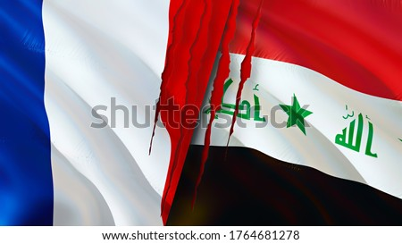 France and Iraq flags with scar concept. Waving flag,3D rendering. France and Iraq conflict concept. France Iraq relations concept. flag of France and Iraq crisis,war, attack concept