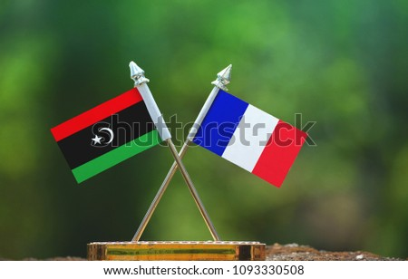 France and Libya small flag with blur green background #1093330508