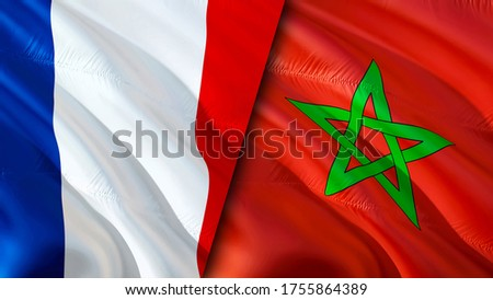 France and Morocco flags. 3D Waving flag design. France Morocco flag, picture, wallpaper. France vs Morocco image,3D rendering. France Morocco relations alliance and Trade,travel,tourism concept