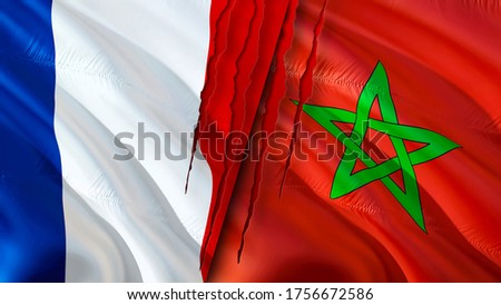 France and Morocco flags with scar concept. Waving flag,3D rendering. France and Morocco conflict concept. France Morocco relations concept. flag of France and Morocco crisis,war, attack concept