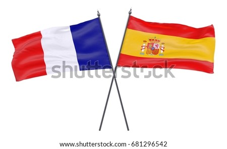 France and Spain, two crossed flags isolated on white background. 3d image