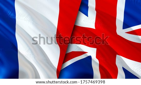 France and United Kingdom flags. 3D Waving flag design. France United Kingdom flag, picture, wallpaper. France vs United Kingdom image,3D rendering. France United Kingdom relations alliance and