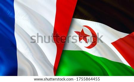 France and Western Sahara flags. 3D Waving flag design. France Western Sahara flag, picture, wallpaper. France vs Western Sahara image,3D rendering. France Western Sahara relations alliance and