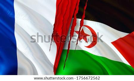 France and Western Sahara flags with scar concept. Waving flag,3D rendering. France and Western Sahara conflict concept. France Western Sahara relations concept. flag of France and Western Sahara