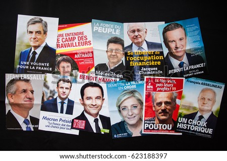 FRANCE, APRIL 2017 - French presidential election official campaign flyers. The 11 candidates.