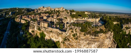 France. Bouches-du-Rhone (13) Aerial view of Les Baux de Provence, one of the most beautiful villages of France, located in the Alpilles Zdjęcia stock ©
