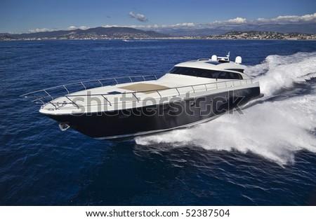 France, Cannes, luxury yacht Continental 80' (boatyard: Cantieri Navali del Mediterraneo), aerial view