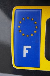 France car plate with European Union flag stars