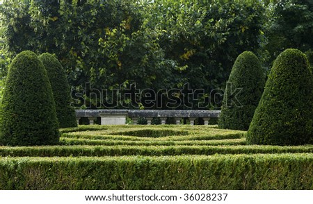 France, castle of Auvers sur Oise, formal garden
