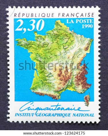FRANCE - CIRCA 1990: a postage stamp printed in France showing an image of a geographic map of France, circa 1990.