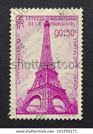 FRANCE CIRCA 1939 A postage stamp printed in France showing an image of Eiffel Tower circa 1939