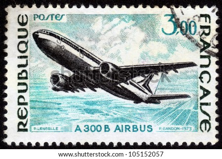 FRANCE - CIRCA 1973: A postage stamp printed in France, shows A 300 B Airbus, circa 1973