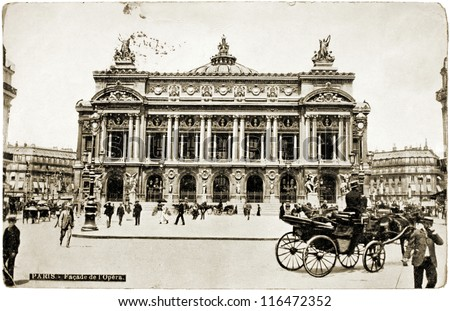 FRANCE - CIRCA 1908: a postcard printed in FRANCE shows a photograph of famous Palais Garnier which was built for the Paris Opera, circa 1908.