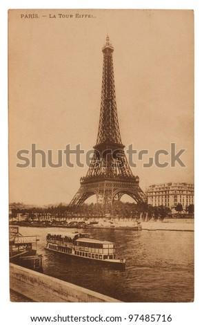 FRANCE - CIRCA 1905: A postcard printed in France shows image of a Eiffel Tower  series, circa 1905.