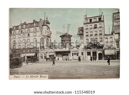 FRANCE - CIRCA 1905: A postcard printed in France shows image of a Moulin Rouge series, circa 1905.