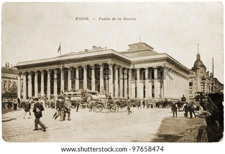FRANCE - CIRCA 1908: a postcard printed in FRANCE shows sepia toned photograph of Paris Bourse. Bource is the historical Paris stock exchange, known as Euronext Paris from 2000 onwards. Circa 1908.
