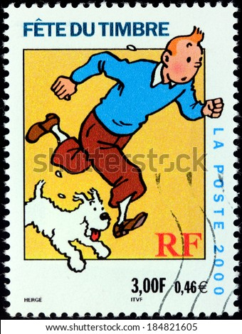FRANCE CIRCA 2000 A stamp printed by FRANCE shows image of cartoon character Tintin with his dog Snowy circa 2000