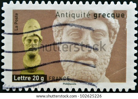 FRANCE - CIRCA  2007: A stamp printed in France dedicated to ancient Greece, shows bust of Alexander the Great, circa 2007