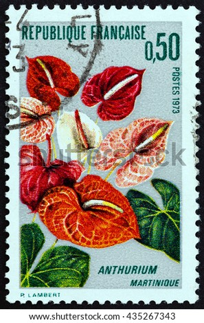 "FRANCE - CIRCA 1973: A stamp printed in France from the ""Martinique Flower Cultivation "" issue shows Anthurium, circa 1973."