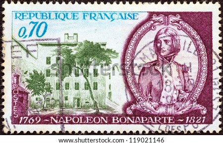 FRANCE - CIRCA 1969: A stamp printed in France issued for the birth bicentenary of Napoleon Bonaparte shows Napoleon as young officer, and birthplace, circa 1969.