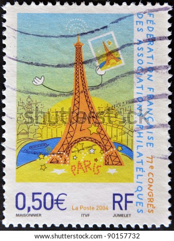 FRANCE - CIRCA 2004: A stamp printed in France shows a funny drawing of the Eiffel Tower, circa 2004