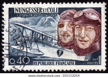 FRANCE - CIRCA 1967: A stamp printed in France, shows Charles Nungesser and Francois Coli, French aviation pioneers They attempted  to cross the Atlantic ocean , they  disappeared  May 9 1927, circa 1967