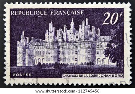 FRANCE - CIRCA 1952: A stamp printed in France shows Chateau de Chambord, circa 1952