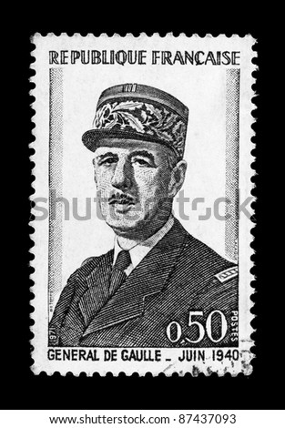 FRANCE - CIRCA 1971: A stamp printed in France shows General de Gaulle, circa 1971.