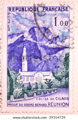 FRANCE - CIRCA 1958: A stamp printed in France shows image of the Church of Cilaos in Reunion, series, circa 1958