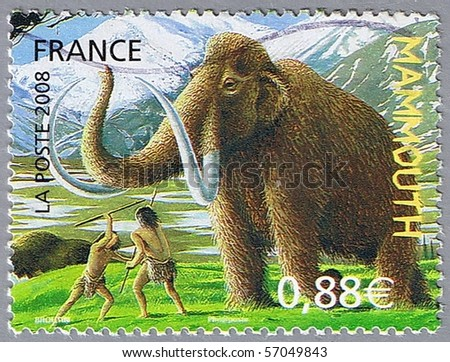 FRANCE - CIRCA 2008: A stamp printed in France shows mammoth, circa 2008