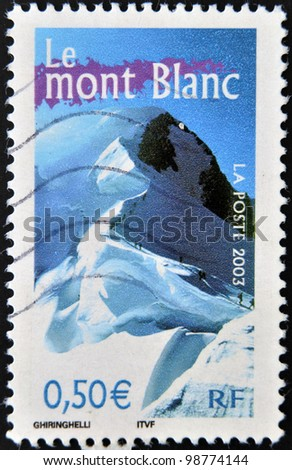 FRANCE - CIRCA 2003: A stamp printed in France shows mont blanc, circa 2003