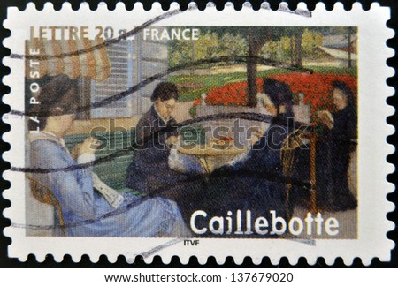 FRANCE - CIRCA 2006: A stamp printed in France shows Portrait in the country by Gustave Caillebotte, circa 2006