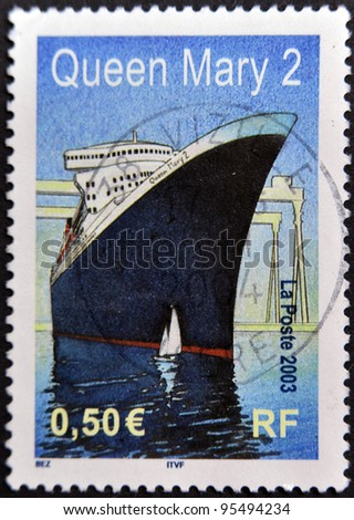 FRANCE - CIRCA 2003: A stamp printed in France shows Queen Mary 2, circa 2003