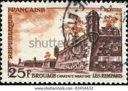 FRANCE - CIRCA 1955: A stamp printed in France shows ramparts of Brouage, a 17th Century fortress, series, circa 1955