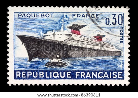 FRANCE - CIRCA 1984: A stamp printed in France shows sea ship France, circa 1984
