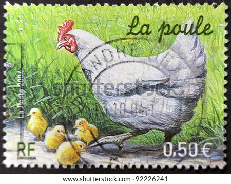 FRANCE - CIRCA 2004: A stamp printed in France shows the chicken, circa 2004