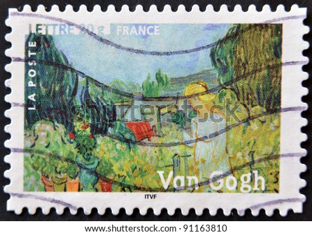 "FRANCE - CIRCA 2006: A stamp printed in France shows the painting ""Mademoiselle Gachet in her garden"" by Vincent Van Gogh, circa 2006"