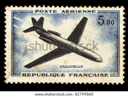 FRANCE - CIRCA 1965: A stamp printed in France shows the passenger airplane Caravelle, circa 1965 - stock photo
