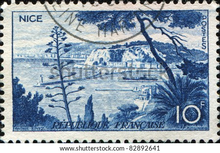 FRANCE - CIRCA 1958: A stamp printed in France shows view  of Nice, France, series, circa 1958