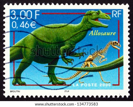 FRANCE - CIRCA 2000: a stamp printed in the France shows Allosaurus, Extinct Dinosaur, circa 2000