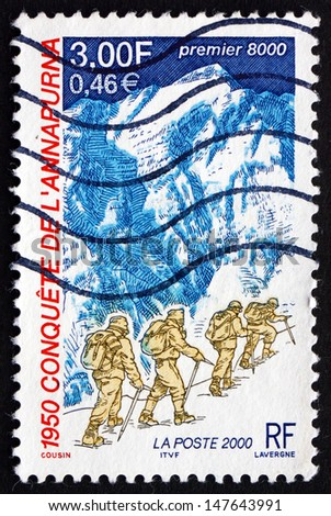 FRANCE - CIRCA 2000: a stamp printed in the France shows Expedition to Annapurna, 50th Anniversary of First Ascent to Annapurna, circa 2000