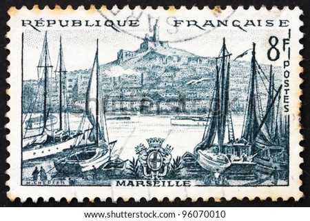 FRANCE - CIRCA 1955: a stamp printed in the France shows Marseille, France, circa 1955